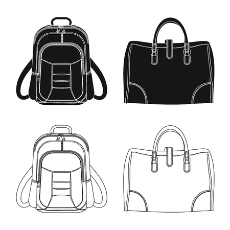 Vector illustration of suitcase and baggage symbol. Collection of suitcase and journey vector icon for stock.