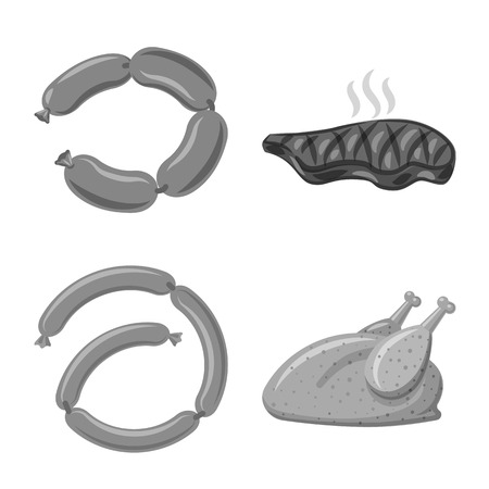 Isolated object of meat and ham symbol. Set of meat and cooking vector icon for stock.
