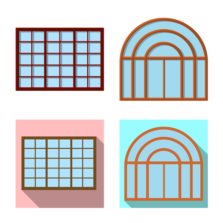 Vector illustration of door and front. Collection of door and wooden vector icon for stock.