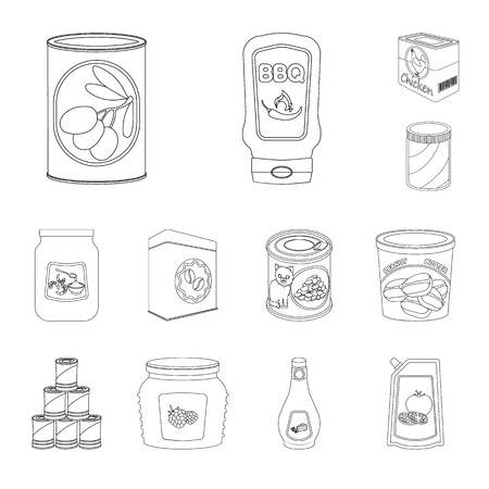Vector design of can and food. Set of can and package stock vector illustration.