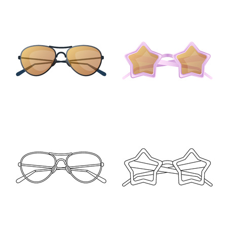 Vector illustration of glasses and sunglasses icon. Set of glasses and accessory stock symbol for web. Ilustração