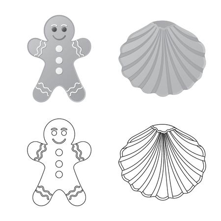 Vector illustration of biscuit and bake logo. Set of biscuit and chocolate vector icon for stock.