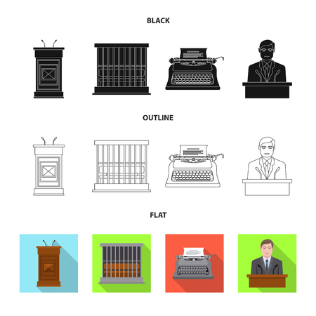Vector design of law and lawyer sign. Collection of law and justice vector icon for stock. Ilustración de vector