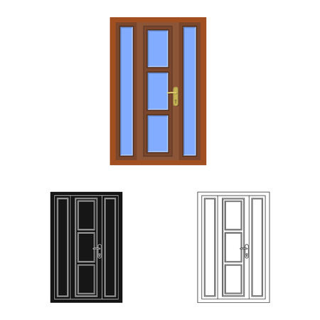 Vector design of door and front icon. Set of door and wooden stock vector illustration.