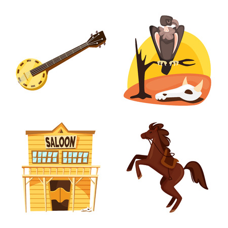 Isolated object of wild and west sign. Collection of wild and american stock vector illustration.