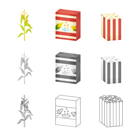 Vector design of cornfield and vegetable icon. Set of cornfield and vegetarian vector icon for stock.