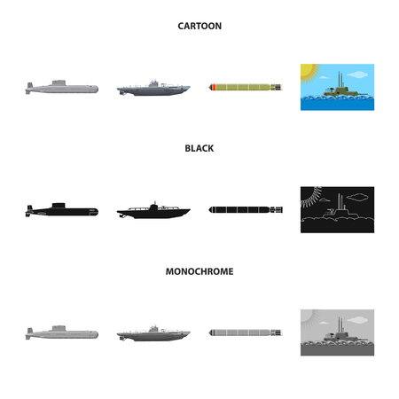 Isolated object of war  and ship icon. Set of war  and fleet stock vector illustration.