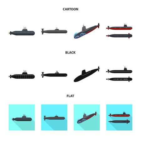 Vector illustration of war  and ship sign. Set of war  and fleet stock vector illustration. Ilustracja