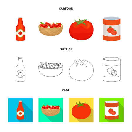 Isolated object of vegetable and delicious sign. Set of vegetable and natural stock vector illustration. Stock Illustratie