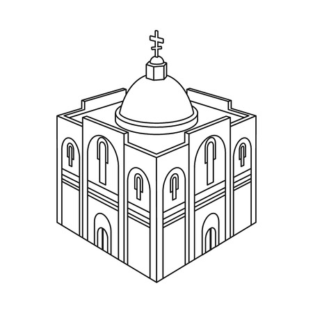 Isolated object of church and orthodox sign. Set of church and christmas vector icon for stock.