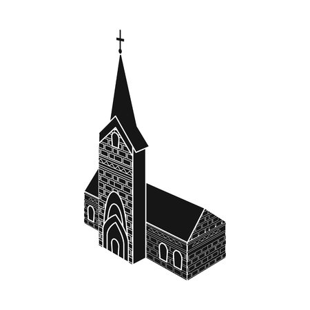 Isolated object of church and catholic sign. Collection of church and construction stock vector illustration. Ilustração