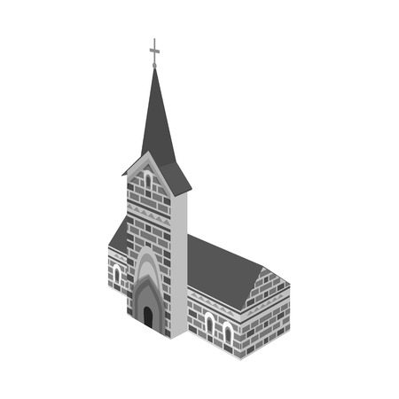 Isolated object of church and catholic sign. Set of church and construction stock symbol for web.