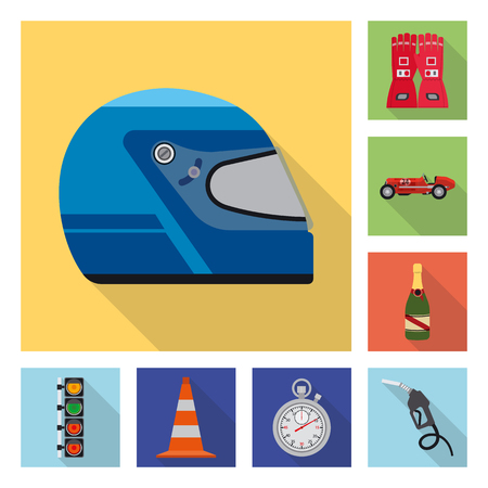 Isolated object of car and rally icon. Set of car and race stock symbol for web. Ilustração