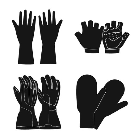 Vector design of glove and winter icon. Set of glove and equipment vector icon for stock.