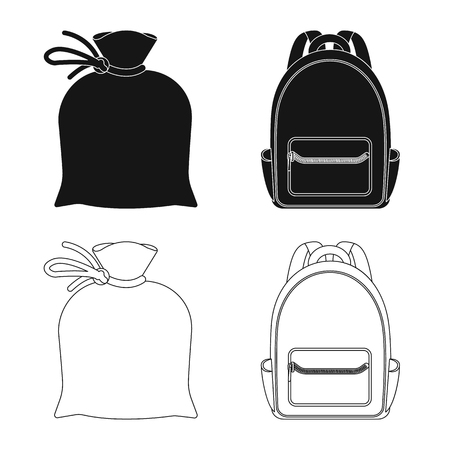Vector design of suitcase and baggage logo. Set of suitcase and journey vector icon for stock. Ilustrace