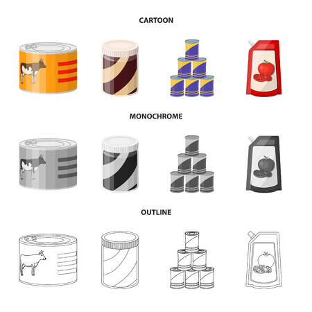 Isolated object of can and food symbol. Set of can and package stock vector illustration. Stock Illustratie