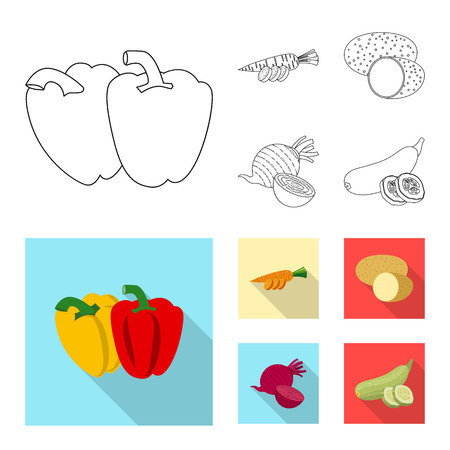 Vector illustration of vegetable and fruit logo. Collection of vegetable and vegetarian vector icon for stock.