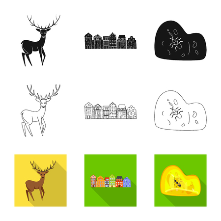 Isolated object of traditional and tour logo. Set of traditional and landmarks vector icon for stock.