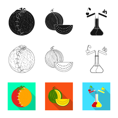 Vector design of test and synthetic sign. Set of test and laboratory stock symbol for web. Illustration
