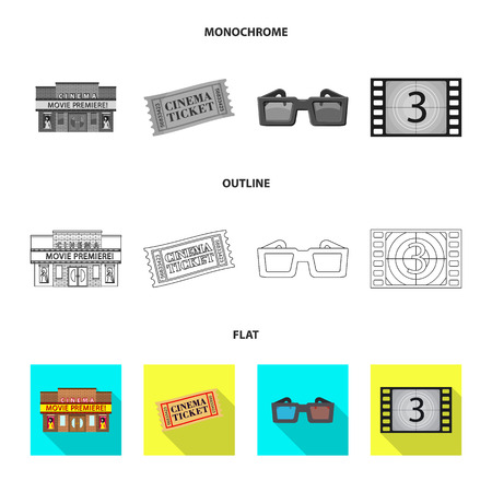 Vector design of television and filming logo. Set of television and viewing vector icon for stock.