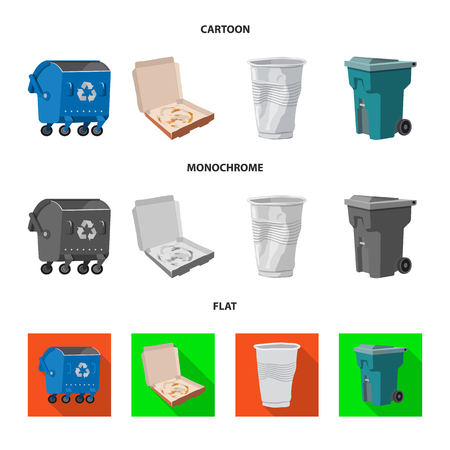 Vector design of dump  and sort sign. Set of dump  and junk stock symbol for web. Ilustracja
