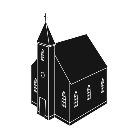 Vector design of church and catholic logo. Set of church and steeple stock symbol for web. Archivio Fotografico - 122480216