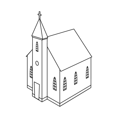 Vector design of church and catholic logo. Collection of church and steeple stock symbol for web. Illusztráció