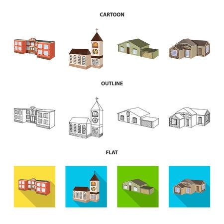 Vector design of facade and housing icon. Set of facade and infrastructure vector icon for stock. Vektorové ilustrace