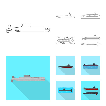 Isolated object of war  and ship symbol. Set of war  and fleet vector icon for stock.