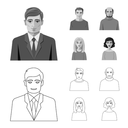 Isolated object of hairstyle and profession  sign. Collection of hairstyle and character  vector icon for stock.