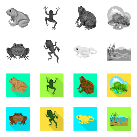 Isolated object of wildlife and bog sign. Set of wildlife and reptile vector icon for stock.