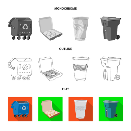 Vector illustration of dump  and sort icon. Set of dump  and junk stock symbol for web.