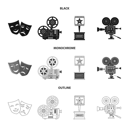 Vector illustration of television and filming symbol. Collection of television and viewing stock symbol for web.