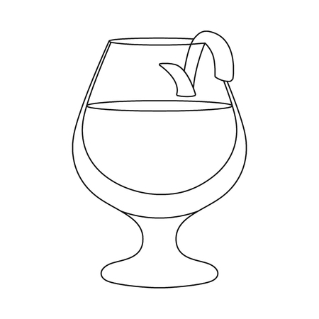 Vector design of glass and cognac symbol. Collection of glass and ice vector icon for stock.