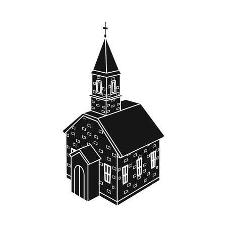 Vector design of church and orthodox icon. Set of church and cross vector icon for stock.