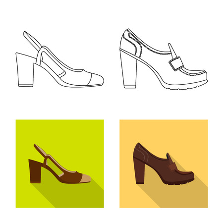 Isolated object of footwear and woman icon. Collection of footwear and foot stock symbol for web. Vektorgrafik
