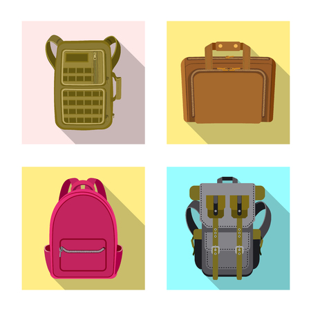 Vector design of suitcase and baggage logo. Collection of suitcase and journey stock vector illustration.