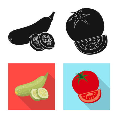 Isolated object of vegetable and fruit sign. Collection of vegetable and vegetarian stock symbol for web.