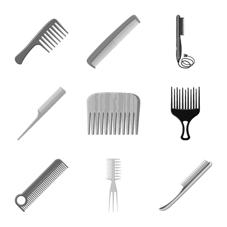 Vector illustration of brush and hair symbol. Set of brush and hairbrush stock vector illustration.