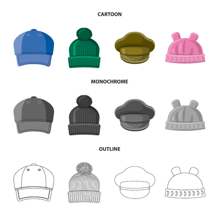 Isolated object of headgear and cap symbol. Collection of headgear and accessory stock symbol for web.  イラスト・ベクター素材