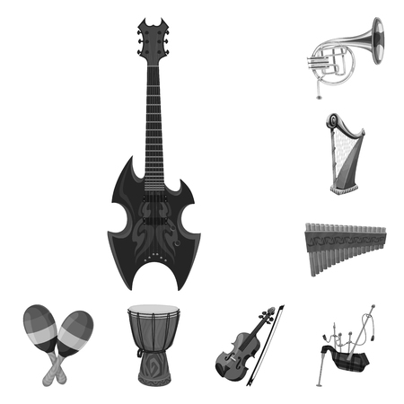 Vector illustration of music and tune icon. Set of music and tool stock symbol for web. Ilustração