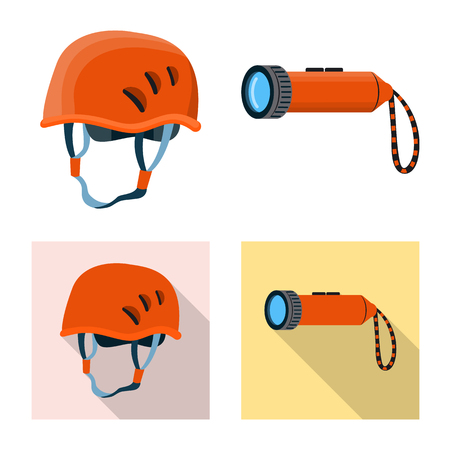 Vector design of mountaineering and peak symbol. Collection of mountaineering and camp stock vector illustration.
