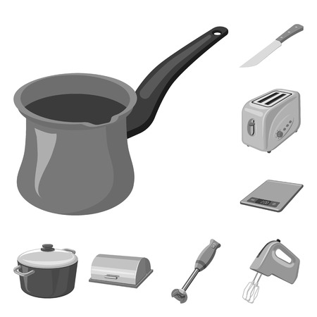 Isolated object of kitchen and cook. Collection of kitchen and appliance stock symbol for web.