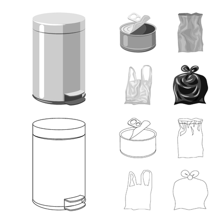Vector illustration of dump  and sort symbol. Set of dump  and junk vector icon for stock.
