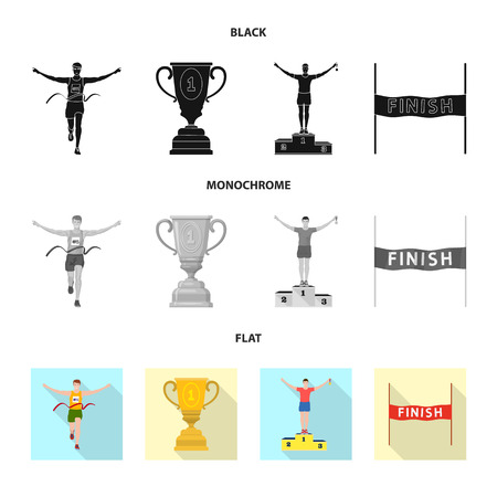 Isolated object of sport  and winner logo. Collection of sport  and fitness  stock vector illustration.
