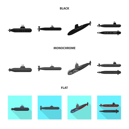 Isolated object of war  and ship symbol. Collection of war  and fleet vector icon for stock. Stock Illustratie