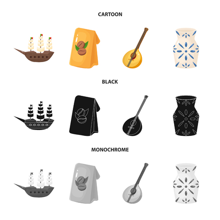 Vector illustration of  and historic symbol. Collection of  and country stock vector illustration.