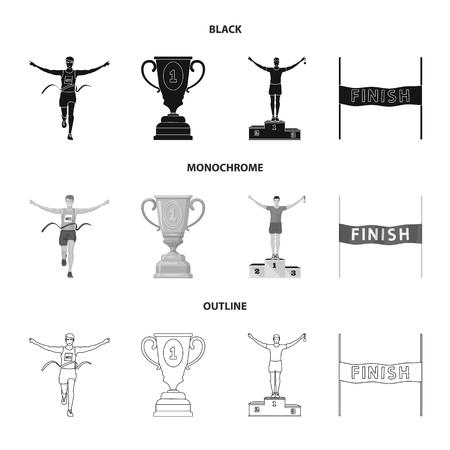Vector illustration of sport and winner sign. Collection of sport and fitness vector icon for stock.
