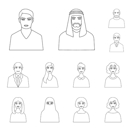 Vector design of character and avatar logo. Set of character and person stock symbol for web.