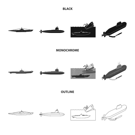 Isolated object of war  and ship symbol. Set of war  and fleet stock symbol for web.